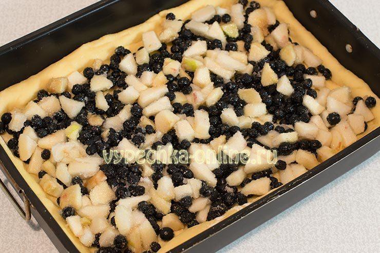 Пирог с черноплодной рябиной и яблоками